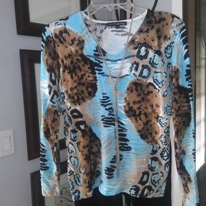 Pierri size M peinted sweater w a touch of bling